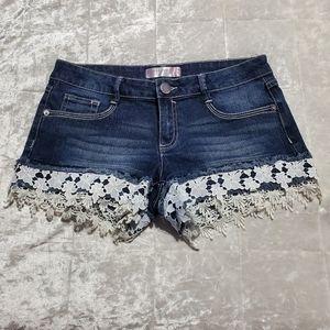 No Boundaries Denim Lace Shorts
